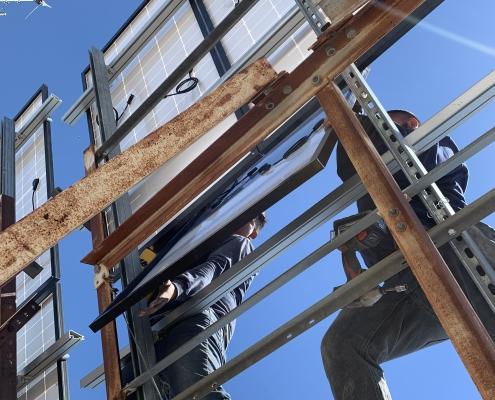 Blue Sky Communications installing the new 320WATT Solar panels