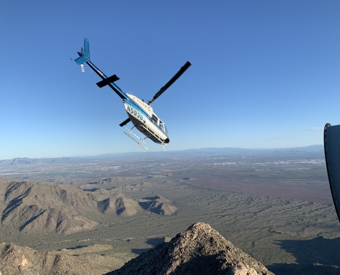 Airwest flying away after dropping off Technicians for Estrella 2020 Solar Superstructure Reinforcement project.
