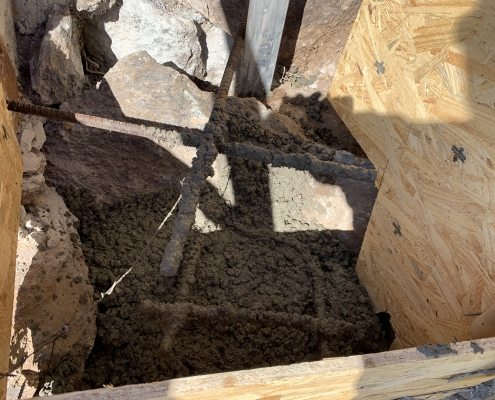 Forms with rock anchors for Estrella 2020 Solar Superstructure Reinforcement project