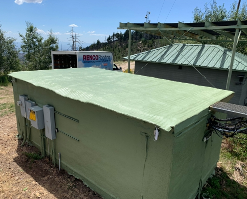 Freshly coated roof and painted building on Mt. Lemmon, AZ