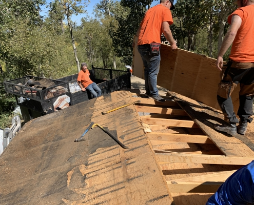 Old wood being removed by Mikko LLC